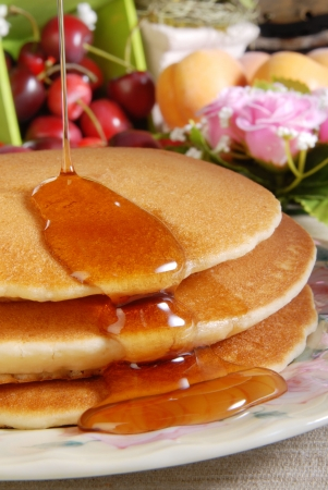 Pancake and some sweet honey  Stock Photo