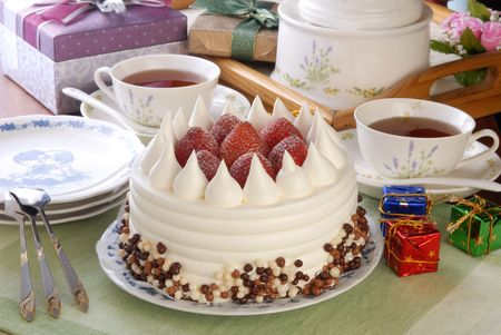rightly: Strawberry cake on the birthday party  Stock Photo