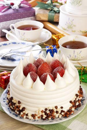 Strawberry cake on the birthday party  Stock Photo - 8033786