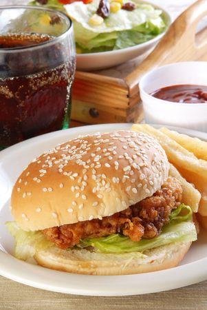 burger on bun: Delicious and juicy chicken burger Stock Photo