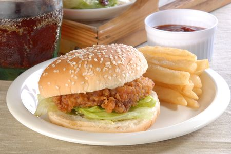 Delicious and juicy chicken burger Stock Photo