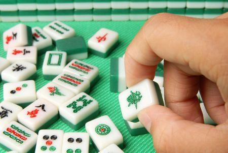 mahjong: Chinese mahjong on a table