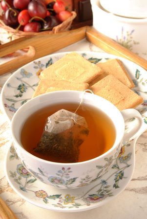 afternoon break: Teabag in the cup with hot water