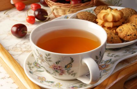 afternoon break: Cup of English tea with biscuits  Stock Photo