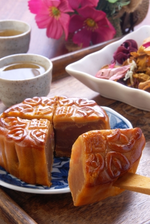 moon cake festival:  Chinese moon cake -- food for Chinese mid-autumn festival  Stock Photo