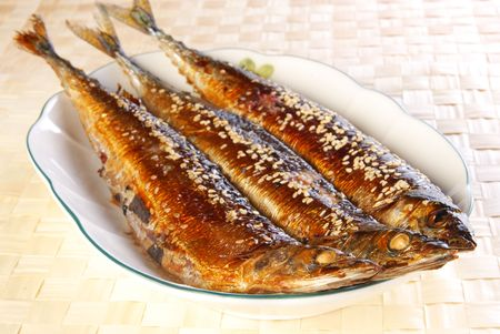 Prepared and delicious grilled saury