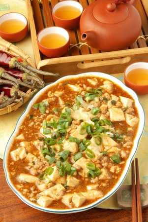 Mapo Tofu - A Popular Chinese Spicy Dish from Sichuan with Minced Pork, Hot Chili Sauce