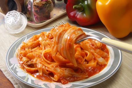 fresh spaghetti on fork close up shoot Stock Photo - 8421760