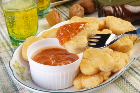 suppertime: Fried chicken nuggets with sauce for dipping