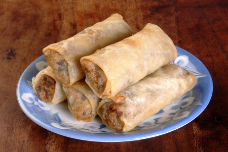Fresh spring rolls traditional Chinese food Stock Photo