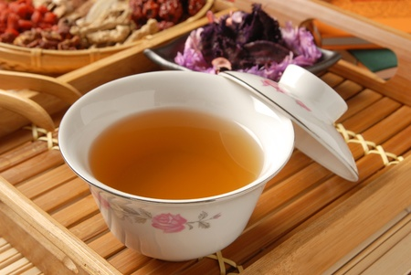 cooking ware: Chinese traditional herbal tea and herbs Stock Photo