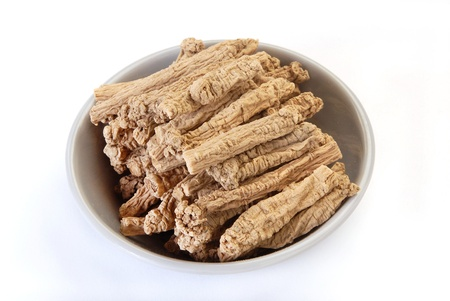 aphrodisiac: Dried codonopsis root  isolated over white background