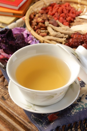 Chinese traditional herbal tea and herbs Stock Photo