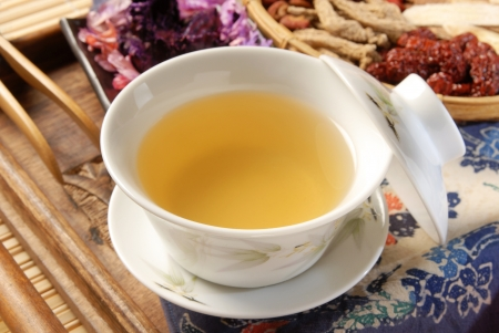 chinese tea ceremony: Chinese traditional herbal tea and herbs Stock Photo