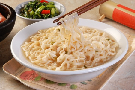 instant noodles: Cooked instant noodles on the table