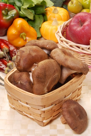 Some  asian shiitake mushrooms in a basket