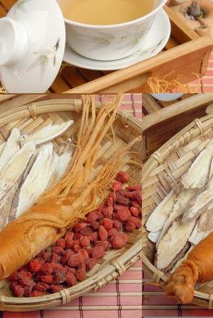 Ginseng、Codonopsitis Radix、Red dry goji berries   in bamboo basketdry  photo