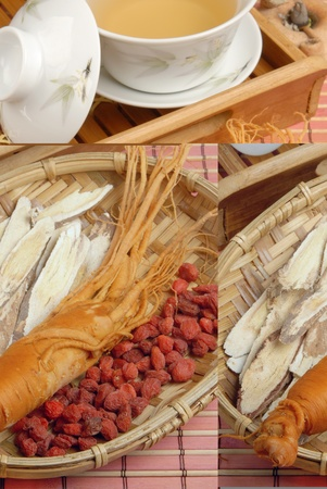 Ginseng、Codonopsitis Radix、Red dry goji berries   in bamboo basketdry  Stock Photo