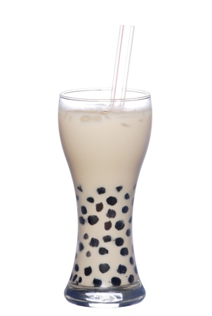 Pearl milk tea on white background   Stock Photo