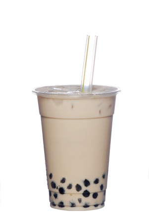 Pearl milk tea on white background