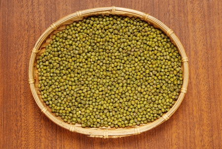 Mung beans on wood table  Stock Photo - 9748251