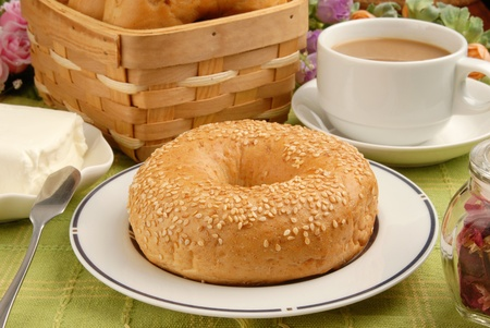 bagel: Bagel with Cream Cheese and Coffee
