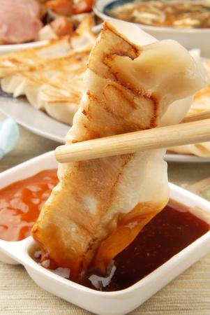 gyoza: Delicious Chinese food - fried dumplings