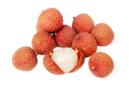lychee: Fresh lechee on white background