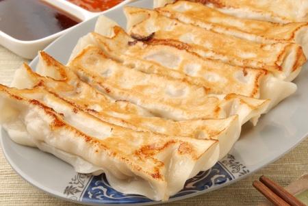 gyoza: Delicious Chinese food - fried dumplings    Stock Photo