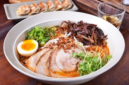 noodle bowl: Japanese traditional ramen with other dishes on table