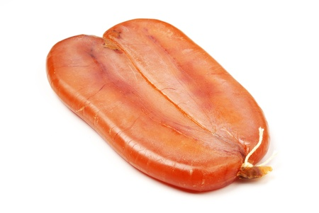 Dried mullet roe on white background