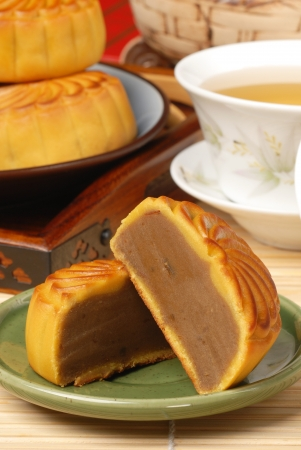 Chinese moon cake -- food for Chinese mid-autumn festival  photo