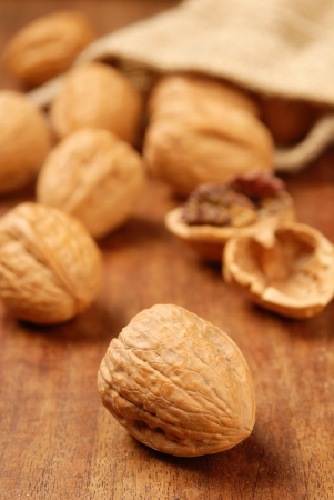 Macro view of  walnuts on the table   Stock Photo - 14727784