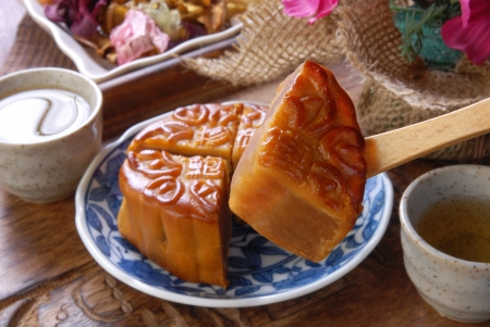 semisweet:  Chinese moon cake -- food for Chinese mid-autumn festival  Stock Photo