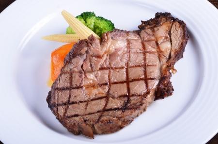 beefsteak: Grilled beefsteak  on a plate  Stock Photo