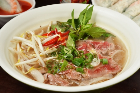 Vietnamese food , rice noodle soup with  beef