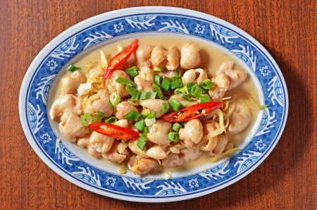Taiwan s hakka  traditional cuisine -  Pork intestines with ginger