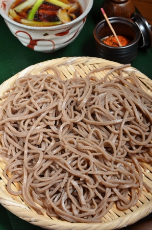 buckwheat noodle: Traditional Japanese food-cold soba Stock Photo
