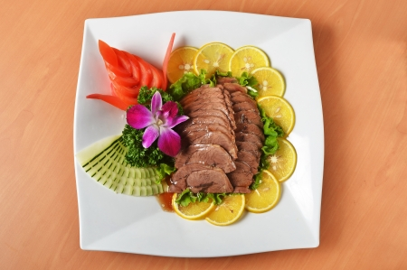 shank: Sliced braised beef shank  on white plate   Stock Photo