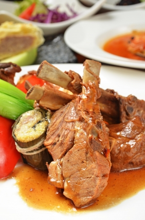 mutton chops: On dinner table delicacy roast mutton chops Stock Photo