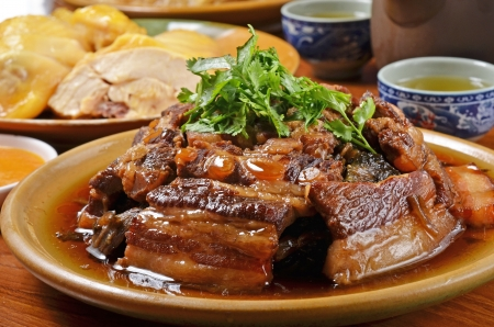 Taiwan s hakka  traditional cuisine -  Stewed pork belly with pickled vegetables Stock Photo