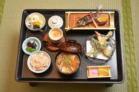 Traditional elegant Japanese kaiseki meal Stock Photo