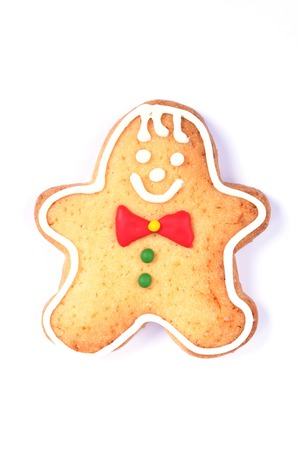Gingerbread man on  white background photo