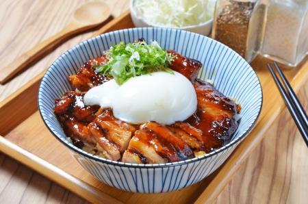 Poulet teriyaki bol de riz, cuisine japonaise Banque d'images