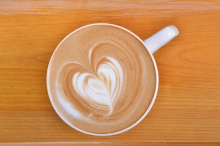 latte art: A cup of latte-art hot coffee