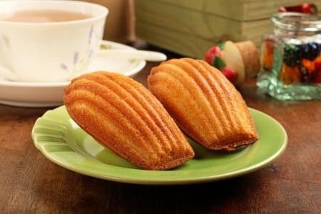 madeleine: Madeleine cookies on wooden table