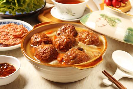 Braised pork balls in soy sauce  版權商用圖片