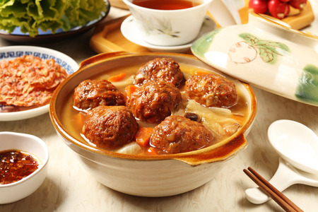 Braised pork balls in soy sauce  Stock Photo