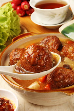 soy sauce: Braised pork balls in soy sauce  Stock Photo