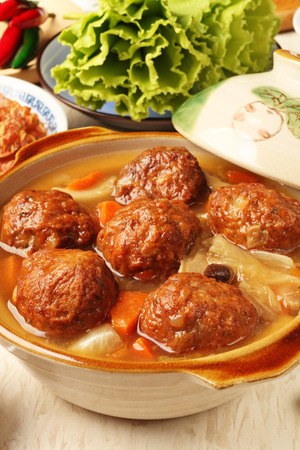 braised mushrooms: Braised pork balls in soy sauce   - Chinese  pork meatballs stewed with  cabbage